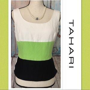 Tahari White, Lime Green Color Block Tank💚Sz 6